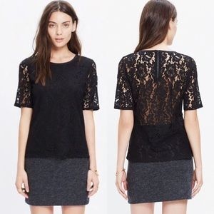 Madewell Lace Refined Zip Back Tee Black XS